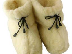 Чуни женские из шерсти мериносовой овчины со шнурками и плотной резиновой подошвой