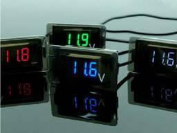 Цифровой вольтметр влагозащищенный IP65, диапазон измерений 4 -30V, Blue