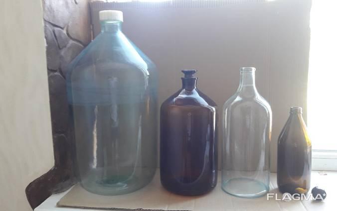 Cтеклянная бутылка 1л, 4л, 5л. литров. (химфлакон, )