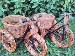 Цветочник велосипед из лозы 366-34