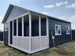 Дачный каркасный домик 6 х 8 со встроенной террасой. NEW.