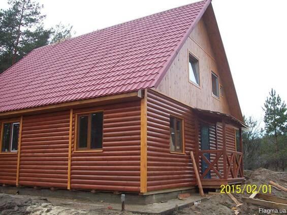 Дачный домик 6м х 6м , 2 этажа с крыльцом из блокхауса
