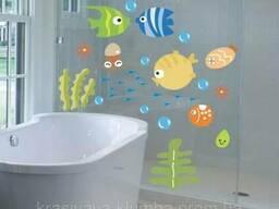 Декоративная наклейка на стену в ванную комнату. (016)