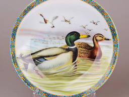 Декоративная настенная тарелка Утки пара 21см.