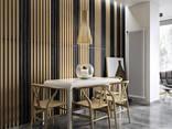 Деревянные рейки балки, мебель, декор в интерьере - фото 3