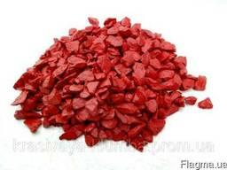 Декоративный цветной щебень (крошка, гравий) , красный