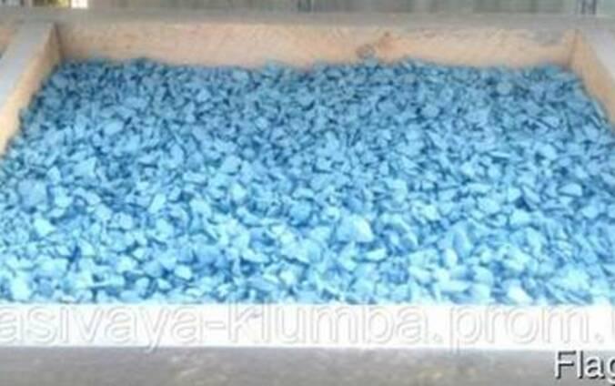 Декоративный цветной щебень (крошка, гравий), светло голубой