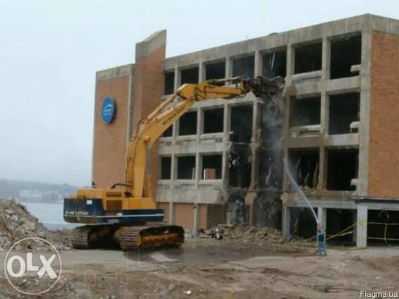 Демонтаж зданий, сооружений, домов, стен, дорожного покрытия