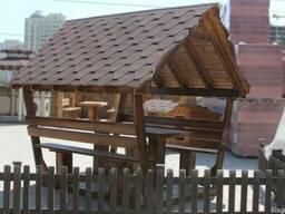Деревянная беседка для дачи и сада. С мангалом и камином - фото 2