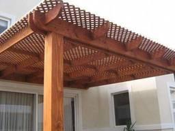 Деревянная пергола с примыканием к дому под ключ - фото 6