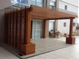Деревянная пергола с примыканием к дому под ключ - фото 2
