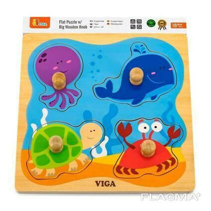 Деревянная рамка-вкладыш Viga Toys Морские обитатели (50132)