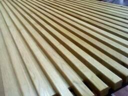 Деревянные рейки, планки для отделки интерьера.
