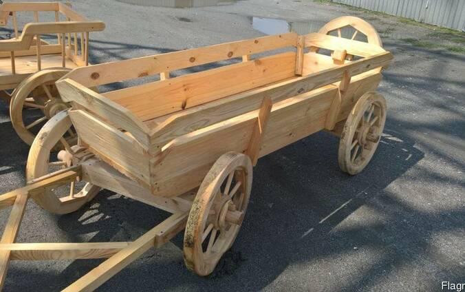 Деревянная телега, тележка для интерьера из массива сосны