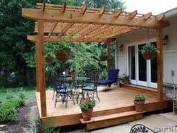 Деревянная терраса с перголой. Строительство под ключ. - фото 2
