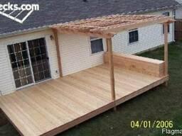 Деревянная терраса с перголой. Строительство под ключ. - фото 5