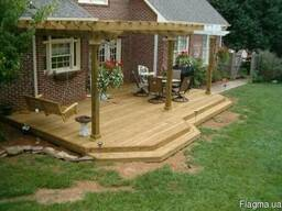 Деревянная терраса с перголой. Строительство под ключ. - фото 7