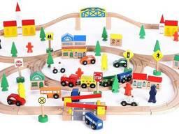 Деревянная железная дорога Avko 100 элементов, от 1 года, совместима с другими жд дорогами