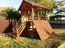 Деревянный домик для детей с песочницей-трансформером(лавочк