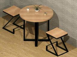 """Деревянный круглый стол """"X-top"""" в стиле LOFT с металлическими ножками"""