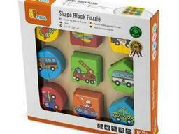 Деревянный пазл-сортер Viga Toys Фигуры и транспорт (59586)