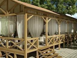 Деревянные каркасы навесы декоры для кафе баров ресторанов
