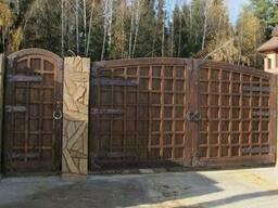 Деревянные распашные ворота и калитка Под заказ