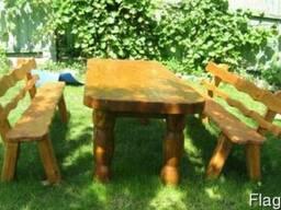 Деревянные столы стулья, скамейки - Дачная мебель, беседки.