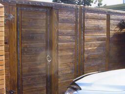 Деревянные ворота для коттеджа из термодерева