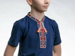 Детская футболка с красной вышивкой и коротким рукавом «Казацкая» 140