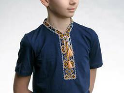 """Детская футболка темно-синего цвета с вышивкой «Казацкая"""" 128"""