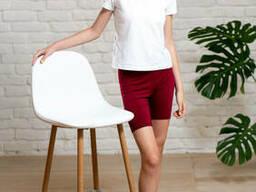 Спортивные трикотажные шорты для девочки подростка бордового цвета 40