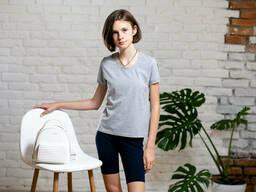 Подростковая хлопковая футболка из трикотажа светло-серого цвета 6-8 лет