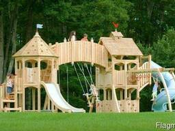 Детские деревянные площадки, домики, комплексы.