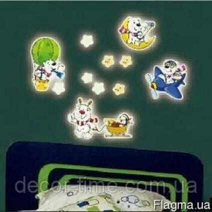 Детские наклейки светящиеся в темноте звездочки, мишки (041