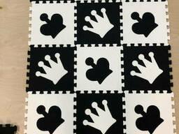 """Детский коврик-пазл """"Шахматы"""" набор 12 штук из EVA 1, 08 м2"""