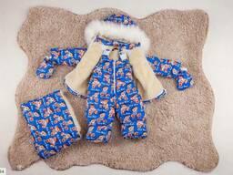 Детский зимний комбинезон тройка голубой SKL11-260907