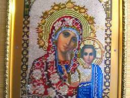 Дева Мария Казанская, вышивка стразами, алмазная мозайка