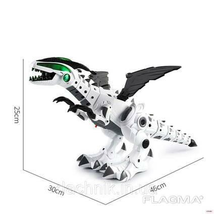 Динозавр 0878 р/у, аккум, звук(англ), свет, дым, танцует, ездит, программ, стреляет. ..