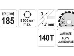 Диск пиляльний по ламінованих плитах та ламінату YATO 180 x 20 x 1. 7 x 1. 4 мм 140. ..