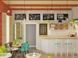 Дизайн интерьера кафе и визуализация