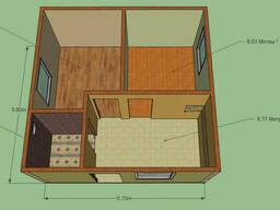 Дом 5,6 на 5,7м. кухня, 2 комнаты, сан. узел. Срок 2 недели