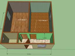 Дом 6 на 6. 2 комнаты, кухня, с/у. Можно для баз отдыха.
