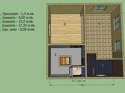 Дом 7,3 на 7,3 м. Площадь 53,3 м2. Срок 3 недели под отделку