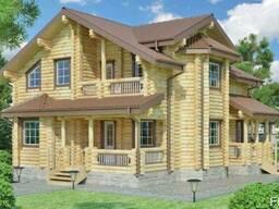 Дом деревяный из оцилиндрованного бревна 10х10 м