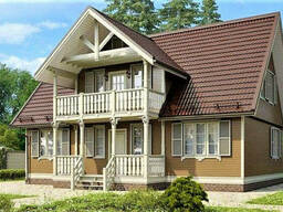 Дом из профилированного клееного бруса, деревянный 10х12 м