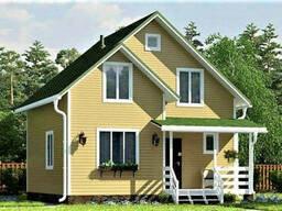 Дом из профилированного клееного бруса, деревянный 8х8 м
