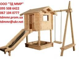 Детские деревянные домики, домик с горкой, качелей