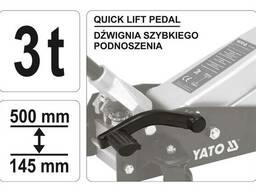 Домкрат гідравлічний підкатний низькопрофільний з важелем швидкого підйому YATO 3 т. ..