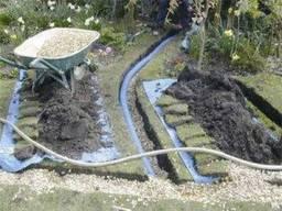 Дренаж земельного-садового участка на даче, дренажные работы